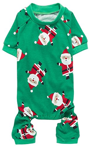 Cute Santa Claus Pet Clothes Christmas Dog Pajamas Shirts, Green, Back Length 12' Small Green