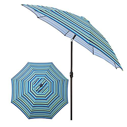 SHANJ Sombrilla Inclinable para Patio,Paraguas de Mercado al Aire Libre Grande de 2,7 M,Paraguas de Mesa de Balcón,para Jardín,Terraza,Patios Traseros y Piscinas,Rayas Onduladas
