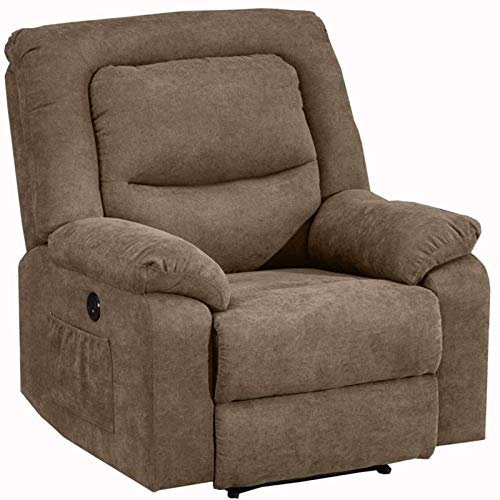 Power Recliner Chair with Heat and Massage, Electric Recliner Chairs Sofa with USB Charge Port for Adults, Fabric Recliner Chair for Bedroom, Living Room and Home Theater Seating (Gray)