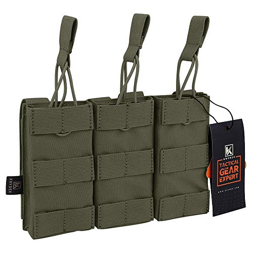 KRYDEX Tactical MOLLE Triple Open-Top 5.56mm Mag Pouch with MOLLE Strap for M4 M16 .223 Magazines(RG)