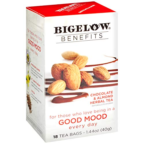 Bigelow Benefits Good Mood Chocolate and Almond Caffeine-Free Herbal Tea, 18 Count (Pack of 6), 108 Tea Bags Total