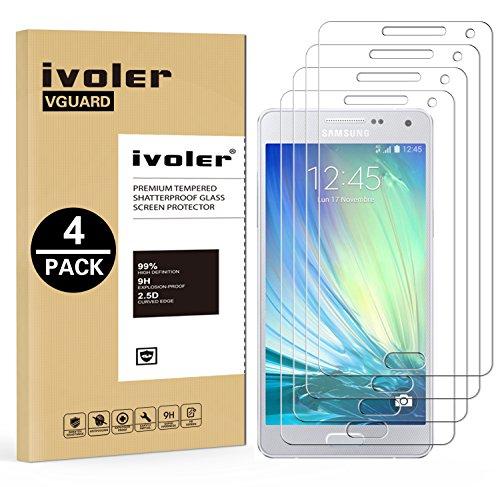 ivoler [4 Unidades] Protector de Pantalla Compatible con Samsung Galaxy A5 2015, Cristal Vidrio Templado Premium [Dureza 9H] [Anti-Arañazos] [Sin Burbujas]