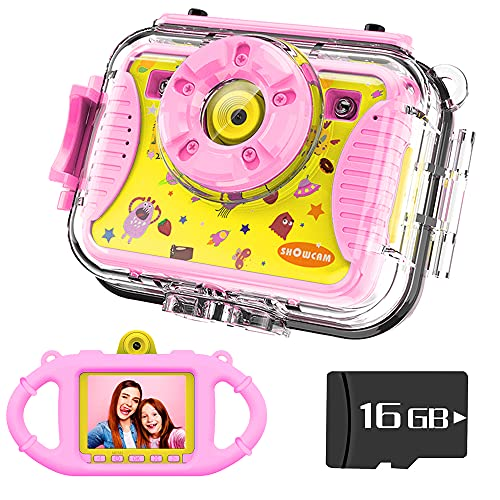 SHOWCAM Kids Camera for Children with16GB Memory Card, Waterproof Child Video Cam,Selfie Supported1080P 8MP 2.4 Inch Large Screen, Silicon Handle, 4 Games, Face Recognition (Pink)