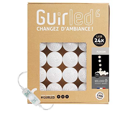 Guirnalda luminosa bolas de algodón LED USB- Luz de noche para bebé 2h - Adaptador de corriente dual USB 2A incluido - 3 intensidades - 24 bolas 4m - Flocon