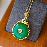DFGHJK Collana con Ciondolo per Donna Collana in Argento Sterling 925 Vintage con Forma Rotonda Verde Giada Color Oro Fine per Matrimonio Femminile Bx-Klqn334Green