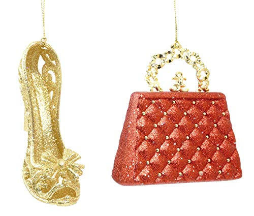 Glittery Purse and Heel Hanging Christmas Ornament Set