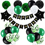 Birthday Decorations for Men Green and Black Party Decor Supplies Boy Including Happy Birthday Banner Confetti Latex Balloon Foil Balloon and Ribbon