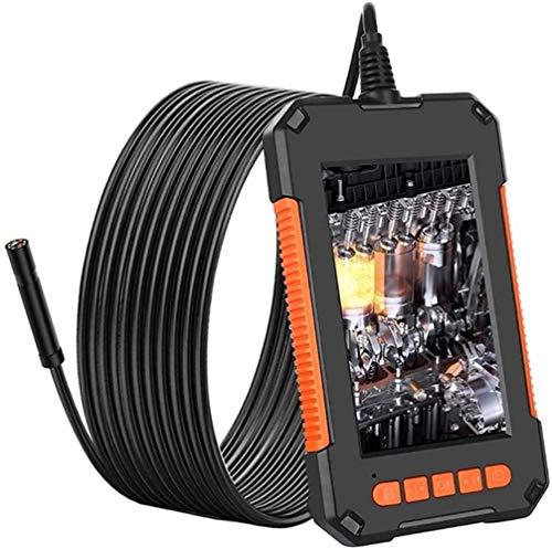 YUKM Endoscopio De Pantalla De 4,3 MP De 4,3 MP De 4 Pulgadas, Cámara De Inspección Profesional De 8 Mm, con 8 Endoscopios Industriales LED, Endoscopio Portátil IP67 Portátil