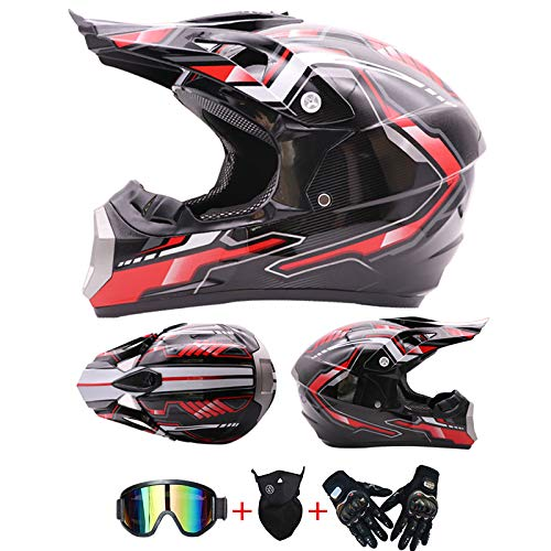 AKBOY Casco de Motocross Kit Casco Integral Cascos de Moto Integrales Apto...