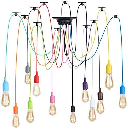 Industriële Vintage plafondlamp hanglamp, doe-het-zelf-plafondspinnenlamp 6 8 10 12 lamp, E26, hanglamp, 78,7 inch, meerdere verstelbare hanglamp, led kroonluchter, halfronde montage eetlamp (6-wit)
