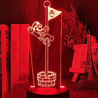 Lámparas 3D de ilusión óptica LED, 16 colores, Control Remotoluces de escultura de arte táctil Decoracion Cumpleaños, Navidad Regalos de Mujer Bebes Hombre Niños Amigas-Super Mario Bros Flag