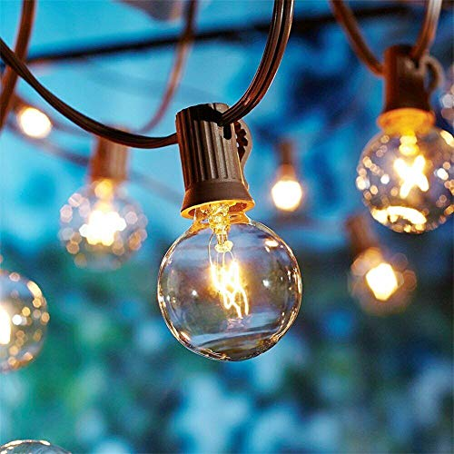 100Ft Outdoor Patio String Lights- G40 Backyard Lights with 105 Edison Clear Globe Bulbs (5 Spare), UL Listed Waterproof Hanging Lights for Balcony Porch Bistro Party Decor, 5 Watts/E12 Socket, Brown