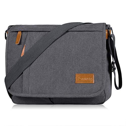 Estarer Umhängetasche Schultertasche Laptoptasche 14 Zoll für Schule Uni Freizeit Job mit Laptopfach & Anti Diebstahl Tasche Grau