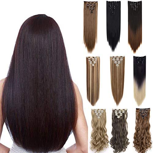 Zaiqun Haarverlängerung, 61 cm, 7 Stück, 16 Clips, lang, gewellt, voller Kopf, doppelt genäht, dick, natürlich Gr. 58 cm-160g, Glatt-Rosarot