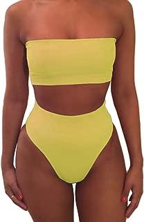 Women's Removable Strap Wrap Pad Cheeky High Waist Bikini Set Swimsuit