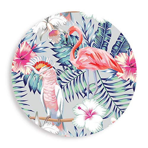 Flamingo - Absorbent Stone Coasters for Drinks 4 inch (10cm) Set of 4 - Large Modern Round Natural Ceramic Water Absorb Spill Coaster with Non-slip Cork Backing for Mugs and Cups