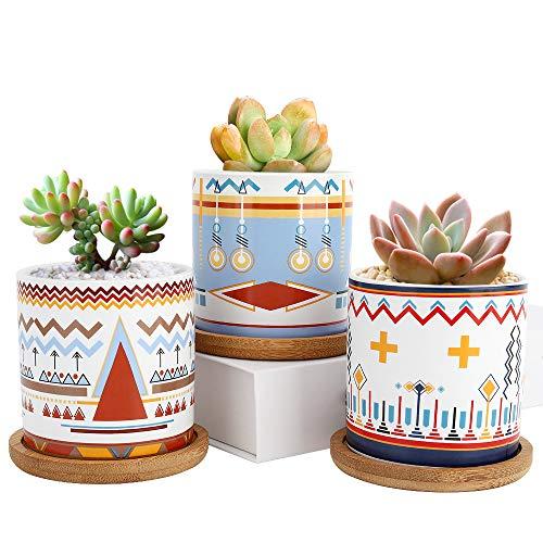 Luxspire Macetas Decorativas, Suculentas Maceteras de Impresión [3 Piezas], Mini Macetas de Cerámica con Desagüé para Mesa de Comedor Sala de Estar Oficina y Jardín –Patrón Geométrico