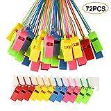 FEPITO 72 Piezas silbatos de plástico de Colores, Entrenador silba con Cordones para Even...