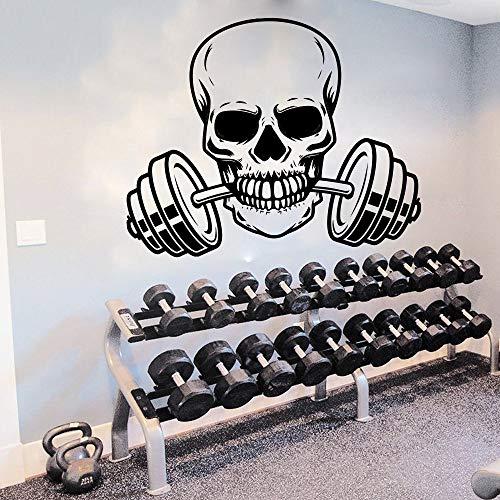 yaonuli Skeleton Barbell Fitness Muursticker Gym Oefening Schedel Lange halter Wandtattoo Vinyl Decoratie