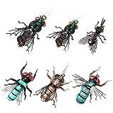 YZD moscas realistas para pesca con mosca, set de mosquitos secos para moscas, avispas, trucha arcoíris, señuelo de pesca hecho a mano, 2-Realistic Green & Blue & Gary Bottle Fly Set of 24 Flies