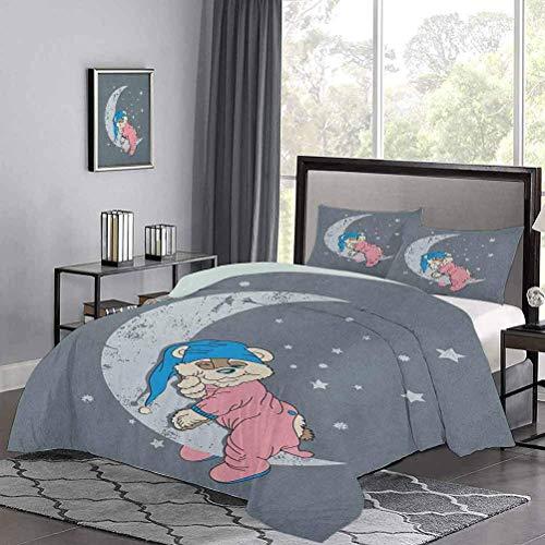 Yoyon Bettbezug-Set Niedliches Kinder-Design mit einem Baby-Bären im Schlafanzug Schlafen auf dem Grungy Moon Trösterbezug Eckbinder, um die Tröster an Ort und Stelle zu halten Bluegrey Pink Beige