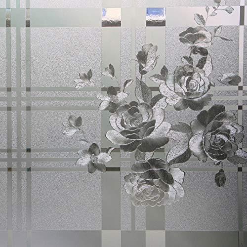 LMKJ Pegatina de Vidrio electrostático patrón de peonía protección de privacidad película Decorativa para Ventanas, película de Vidrio para Ventanas de casa A15 45x200cm
