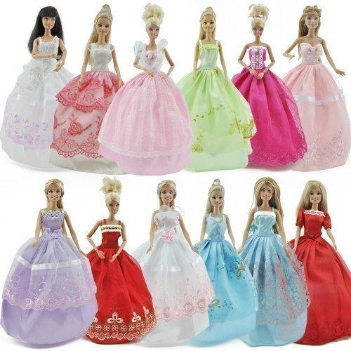 fat-catz-copy-catz 1x Kompatibel mit Barbie Puppen Ball Kleid Prinzessin märchen Hochzeit verkleidung & 1 Paar Schuhe/Stiefel