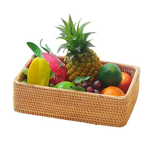 Placa rectangular de ratán cesta del almacenaje Frutos secos de la sala de decoración decoración del hogar de la cesta del pan moderno creativo placa de la fruta, bandeja multifunción ( tamaño : S )