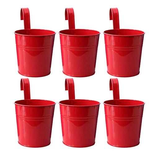 Foxom 6 Pezzi Vasi di Fiori in Ferro Vasi Appesi Fioriere con Gancio per Balcone Giardino, 10 x 8,2 x 10 cm, Rosso
