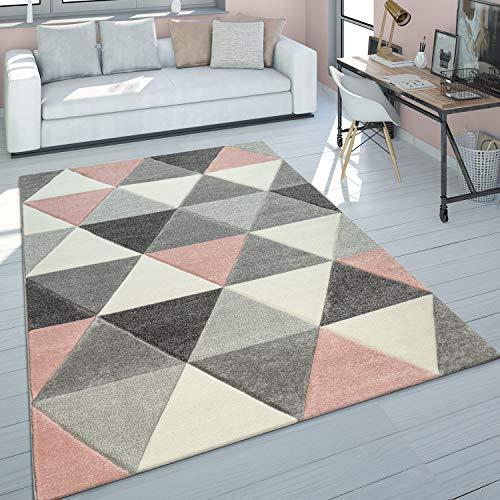 Alfombra Salón Rosa Gris Tonos Pastel Diseño 3D Motivo Triángulos Pelo Corto, tamaño:80x150 cm