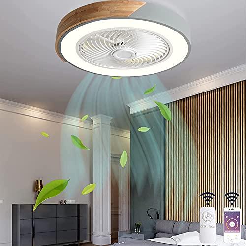 VOMI Plafón de Madera LED Ventilador de techo con Luz Silencio Invisible Ventilador Lámpara con Mando a Distancia APP Regulable 3 Velocidades del Viento Fan Luces para Dormitorios Salones Redondo