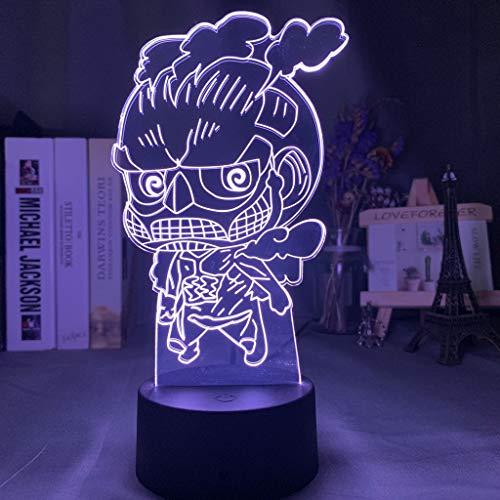 Anime Game Attack on Titan Eren Jäger Ackerman Figura 3D LED Luz de noche Niños Ventiladores Dormitorio Mesita de noche Escritorio USB Lámpara de mesa Regalo para niños Decoración para el hogar