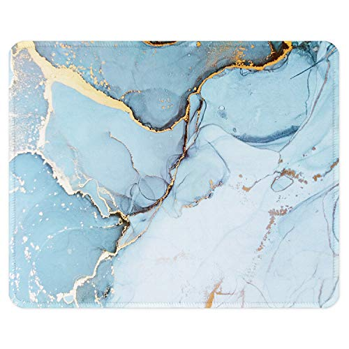 ITNRSIIET Gaming Mouse Pad with Stitched Edges, Premium-Textured Mouse Mat Pad, Non-Slip Rubber Base Mousepad for Laptop, Computer & PC, 10.2×8.3×0.12 inches,Modern Blue Marble