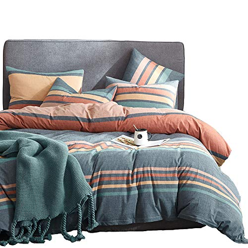Joyreap 3 Pieces Duvet Cover Set, Premium Washed Cotton Comforter Cover, Rainbow Gray Duvet Cover with Zipper & Two Pillowcases, Ultra Soft, Breathable and for All Season (King, 104x90 inches)