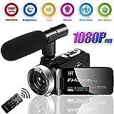 Camescope Caméra Vidéo Full HD 1080P 30FPS 24.0MP Caméscope 18X Zoom Numérique avec Microphone Caméra de Vision Nocturne Caméscope pour Youtube