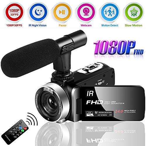 Camcorder Videokamera Full HD 1080P 30FPS Nachtsicht Camcorder 24.0MP Videokamera für YouTube Camcorder mit externem Mikrofon