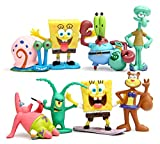 SpongeBob SquarePants 2' Figure Set of 8 - ft. Squidward, Sandy Cheeks, Patrick Star, Mr. Krabs, Plankten - Perfect for Kids Birthday Cake Toppers