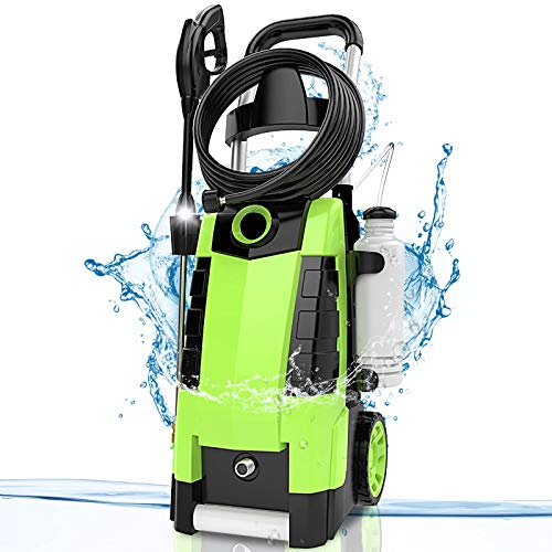 TEANDE 3800PSI 2.8GPM Electric Pressure Washer Electric Power Washer 1800W High Pressure Washer High Pressure Washer Cleaner Machine (Green)