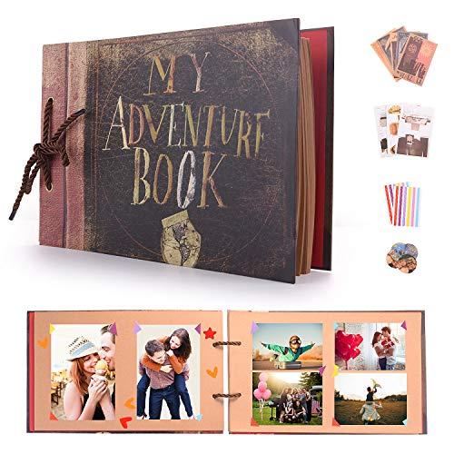 EKKONG Selbstgestalten Fotoalbum, My Adventure Book Vintage DIY Scrapbook Album, Fotobuch Hochzeit Gästebuch, für Weihnachten Geburtstag Jahrestag Geschenk (80 Braun Seiten, 40 Blatt)