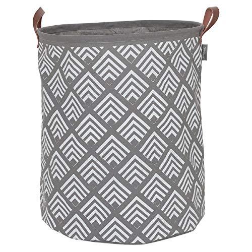 Sealskin Wäschekorb Angoli, Wäschesammler aus Stoff, Griffe in Lederoptik, Farbe: Grau, 50 x 40 x 40 cm
