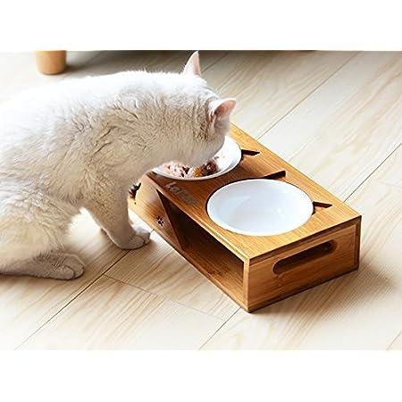 Balacoo Comedero Elevado para Perros Y Gatos con Soporte de Madera Cuenco de Agua Y Plato de Comida para Perros Y Gatos