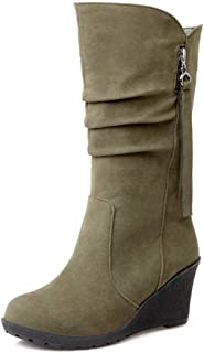 Women's Concise Wedge Heel Mid Calf Boots Ladies Fall Winter Warm Boots