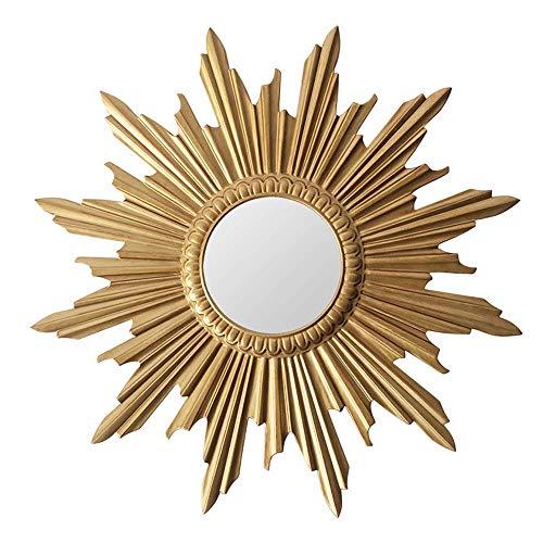 SONGYU Espejo Decorativo, Espejo de Pared con Forma de Sol Redondo de Estilo Europeo, Fondo de sofá Dorado Simple para Colgar en la Pared, para Sala de Estar, Dormitorio, Pasillo, 70/80 cm, 80 cm