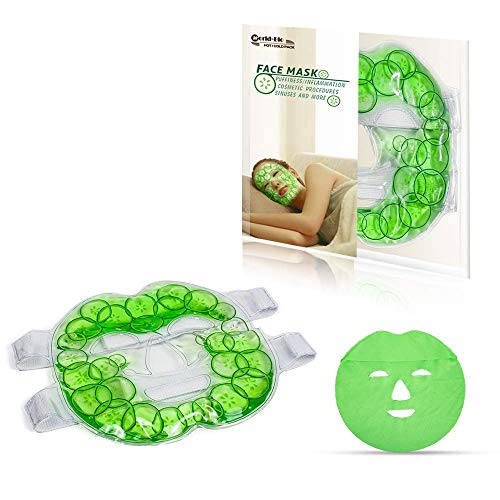 Eis Gel Hot Cold Pack Vollgesichtsmaske wiederverwendbar - Perfekt für geschwollene Gesicht Kiefer, Kopfschmerzen, Migräne, Hitzewallungen, Akne, Sinus Relief, Blepharitis, trockenes, (7,8