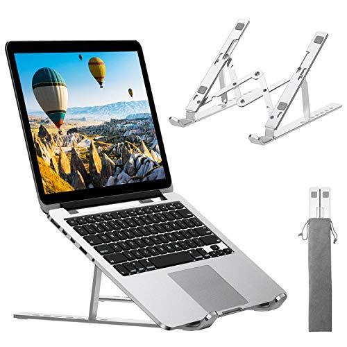 ANDOLO Supporto PC Portatile,7 Livelli Angolazione Regolabile Pieghevole,Raffreddamento Supporto Laptop,Porto Laptop per PC/Tablet/Notebook da 10''-15.6'',Argento