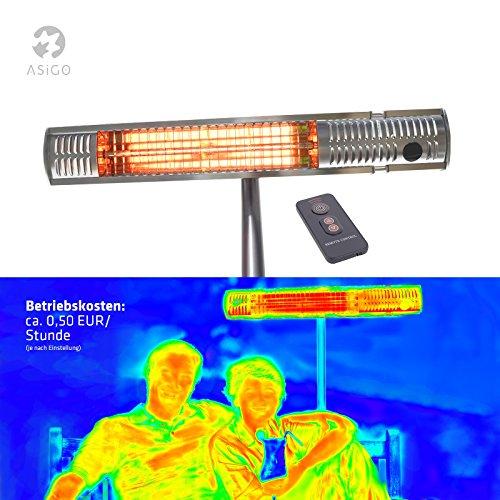 Gardigo Edelstahl Infrarot Heizstrahler, Terrassenstrahler, 4-Stufenleistung 650 – 2000 W, inkl. Standfuss und Fernbedienung - 2