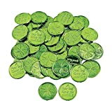 Fun Express Plastic 4-Leaf Clover Good Luck Coins for St. Patrick's Day (144 Coins) Party Favors & Decorations, Novelty Party Supplies