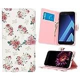 NALIA Funda Libro Compatible con Samsung Galaxy A3 2017, Motivo Carcasa con Tapa Ultra-Fina Case Cover, Dura Cubierta Cuero Sintético Vegan Protectora Telefono Movil Bumper, Designs:Pretty Roses