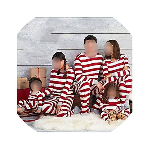 Rayada Blanca roja Navidad de la Familia Matching Pijamas Sistemas de la Ropa de algodón de X'Mas Nightclothes