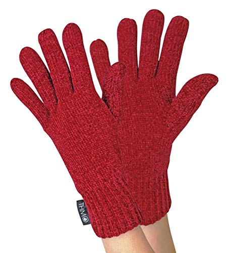 THMO - Damen Chenille Outdoor Handschuhe mit 3M 40g Thinsulate Insulation Gefüttert (One Size, Red)